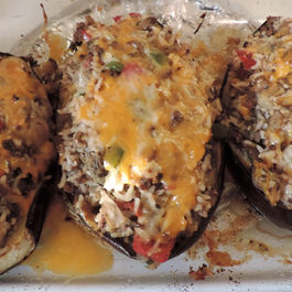 Baked Stuffed Eggplant with Cheese