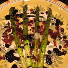 Roasted Asparagus with Gorgonzola Dolce, Prosciutto Bits and Aged Balsamic Vinegar