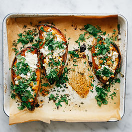 Roasted Sweet Potato w/ Chickpeas, Goat Cheese and Coriander