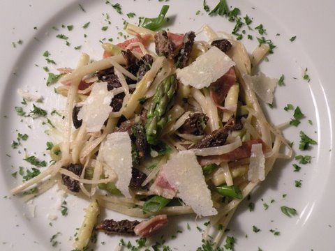 White Asparagus Ribbons with Morels and Brown Butter