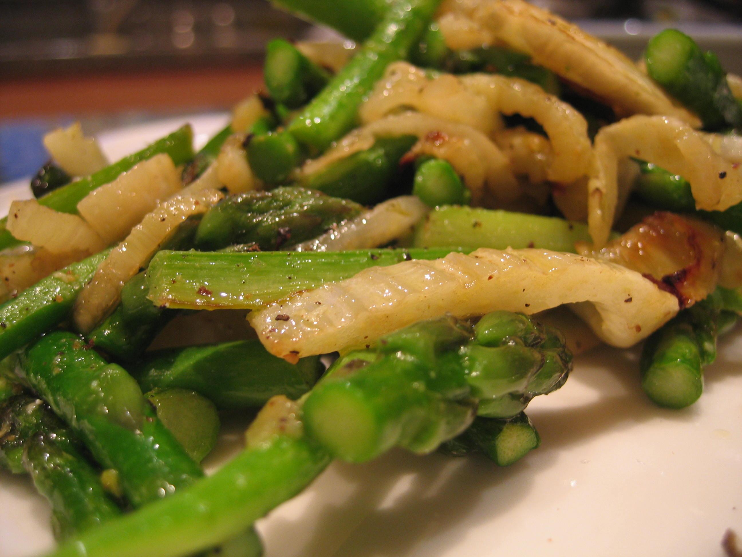 Sautéed Asparagus Spears & Ends w/ Roasted Fennel & Prosciutto