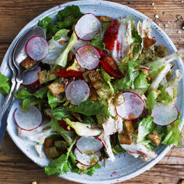 Escarole Salad With Za'atar Pita Crisps, Blood Oranges, Radishes, and Hazelnuts