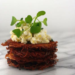 Parsnip Latkes with Arugula and Marinated Feta