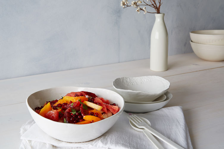 Stone Fruits With Ginger-Lime Syrup And Mint Recipe — Dishmaps