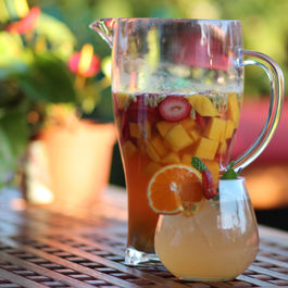 Tropical sangria with passionfruit
