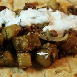 Beef & Eggplant Flatbread Sandwiches