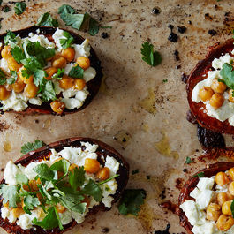 Roasted Sweet Potato with Chickpeas, Goat Cheese, and Coriander