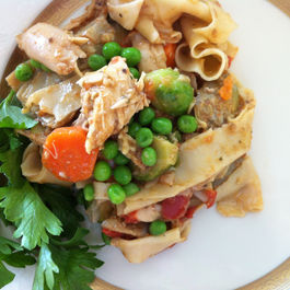 braised rabbit pappardelle with mixed spring vegetables