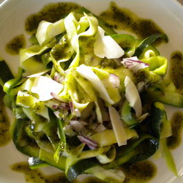 Zucchini with Almond Basil Pesto