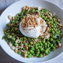 Lemon Mint Peas with Burrata & Breadcrumbs