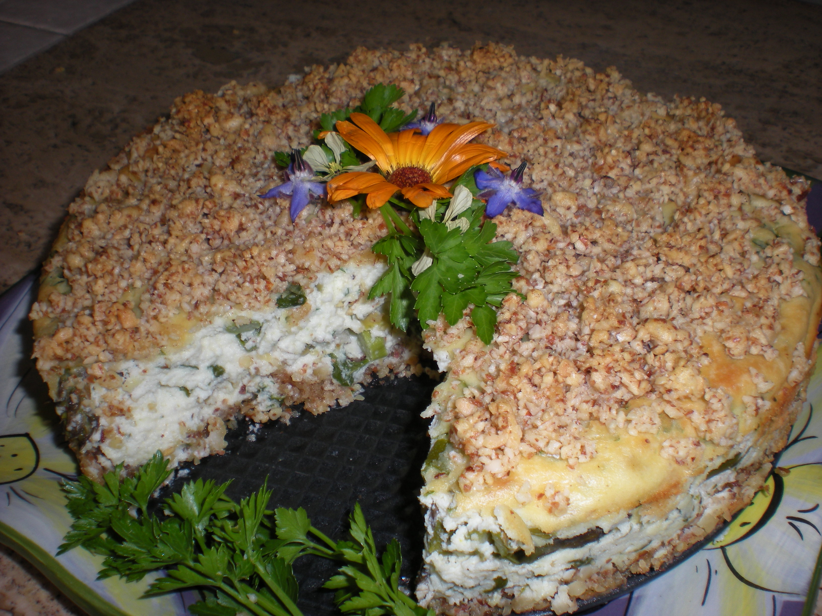 Savory Asparagus Ricotta Cheesecake with Almond Swiss Cheese Crust and Topping.