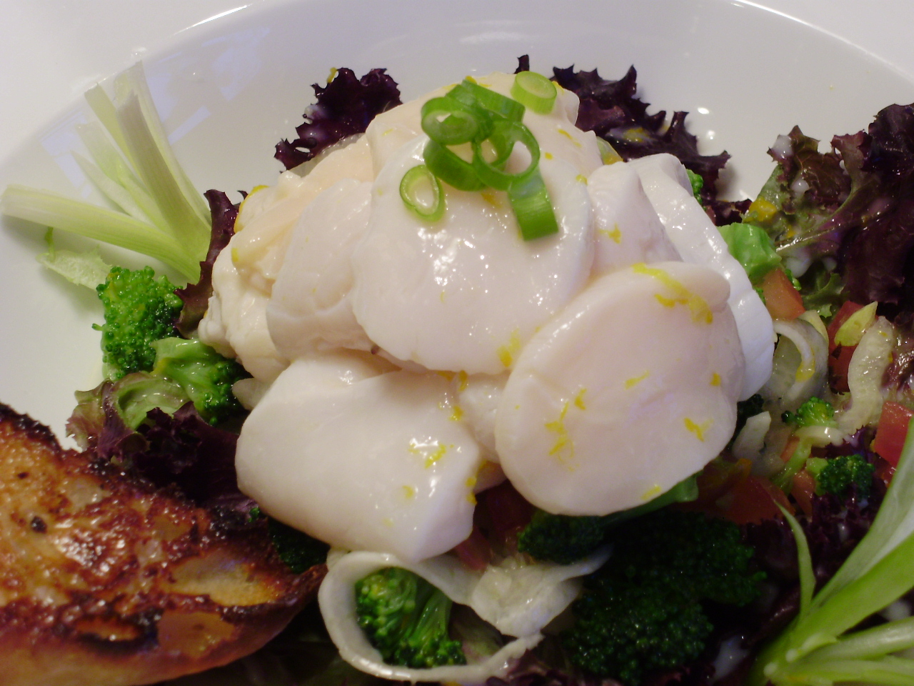 Scallop Ceveche with Fennel and Broccoli Salad