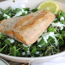 Spring Greens with Pan-Seared Salmon and Horseradish Dressing