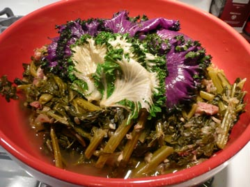 Mixed Greens ( With Collard Greens, Mustard Greens, Russian Red Kale, Chard Toscano)