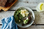 Lemon-Mint Peas with Burrata and Breadcrumbs