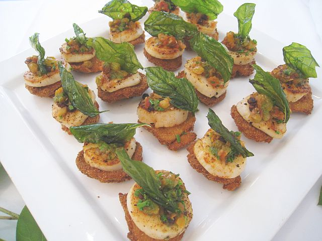 Seared Scallops with Fried Shiitakes and a Sweet Relish Served with Lemon Basil Oil