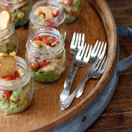 Avocado shrimp cocktails in a jar