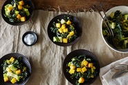 Vegan Caesar Salad with Polenta Croutons