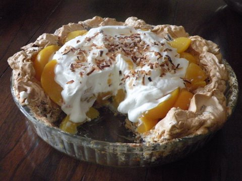 Four Generation Peach Pie with Coconut Meringue Crust