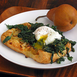 Sweet Onion Tart with Nettles, Sorrel & Poached Egg