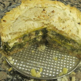 Swiss Chard, Goat Cheese and Winter Squash Phyllo Torte
