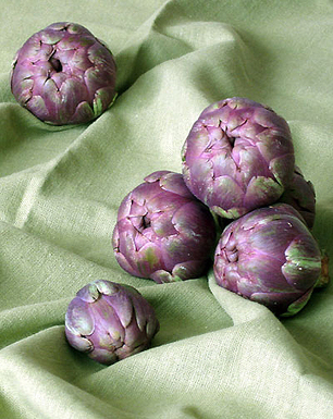 Baby Purple Artichokes Fried in Olive Oil