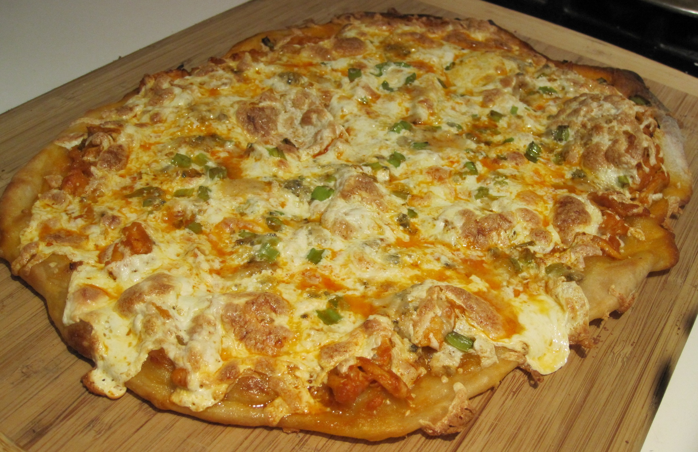 Thin Crust Buffalo Chicken Pizza