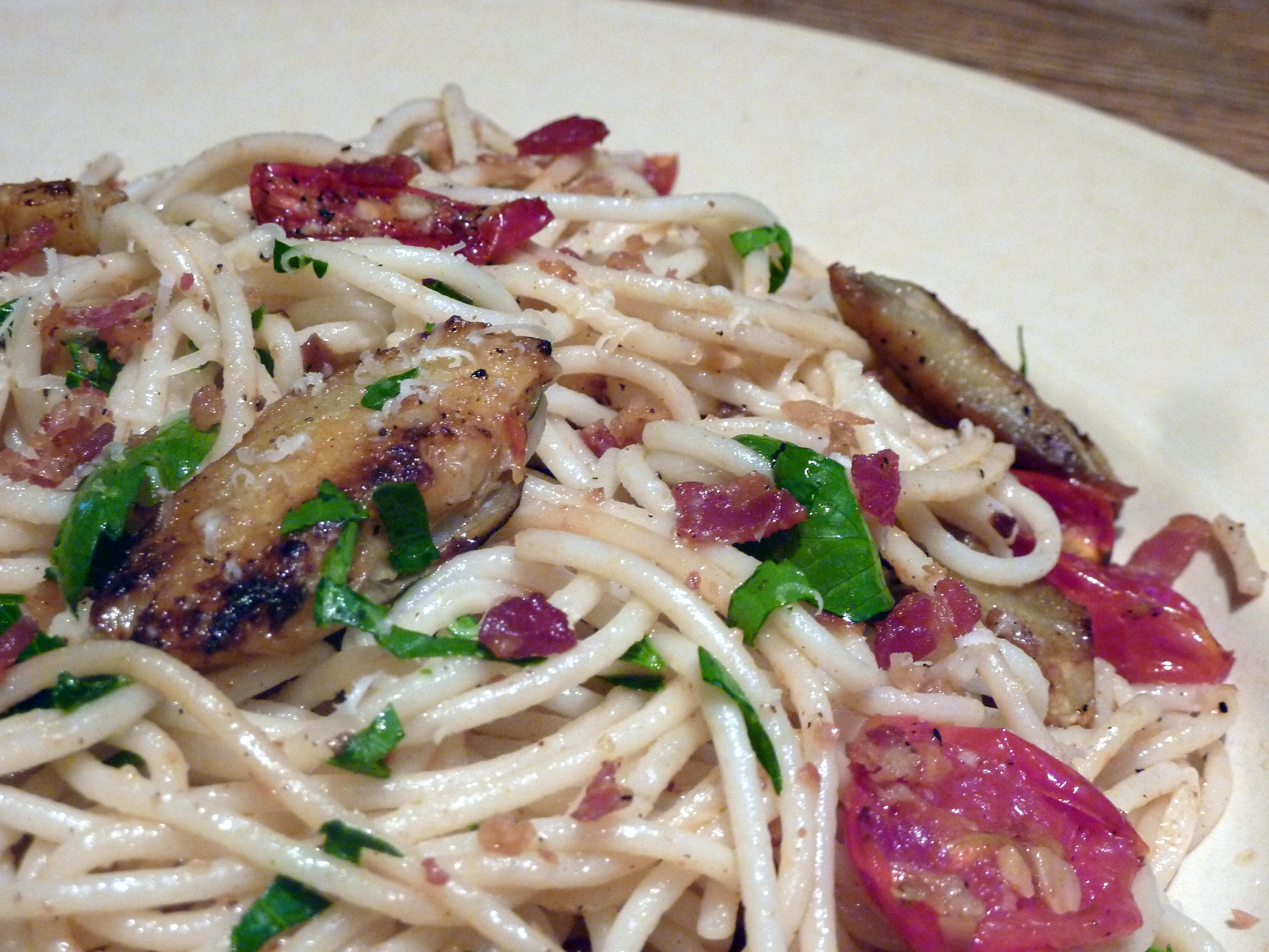 Pasta with Fried Artichoke Chips, Pancetta, Roasted Tomatoes and Lemon Breadcrumbs