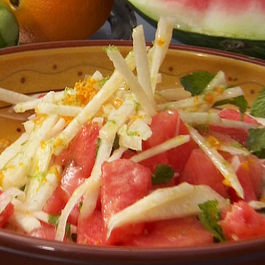 Watermelon, jicama, and feta salad with a honey vinaigrette