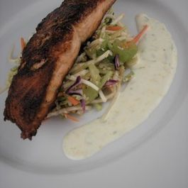 Salmon with Asian Slaw and Citrus Yogurt Sauce