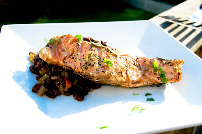 Grilled Salmon w/ Black Beans