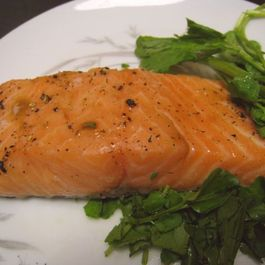 Slow Cooked Salmon Fillets with Savory-Sweet Pea Shoot Soy Sauce