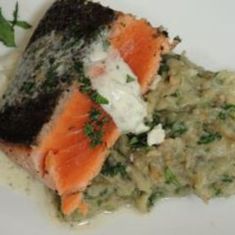 Za'atar Scented Salmon and Eggplant