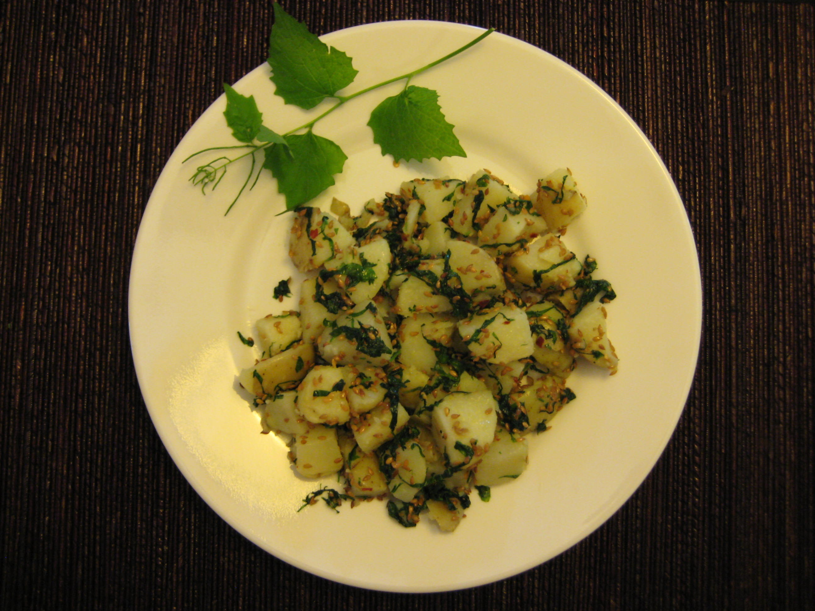 Garlic Mustard Potato Salad
