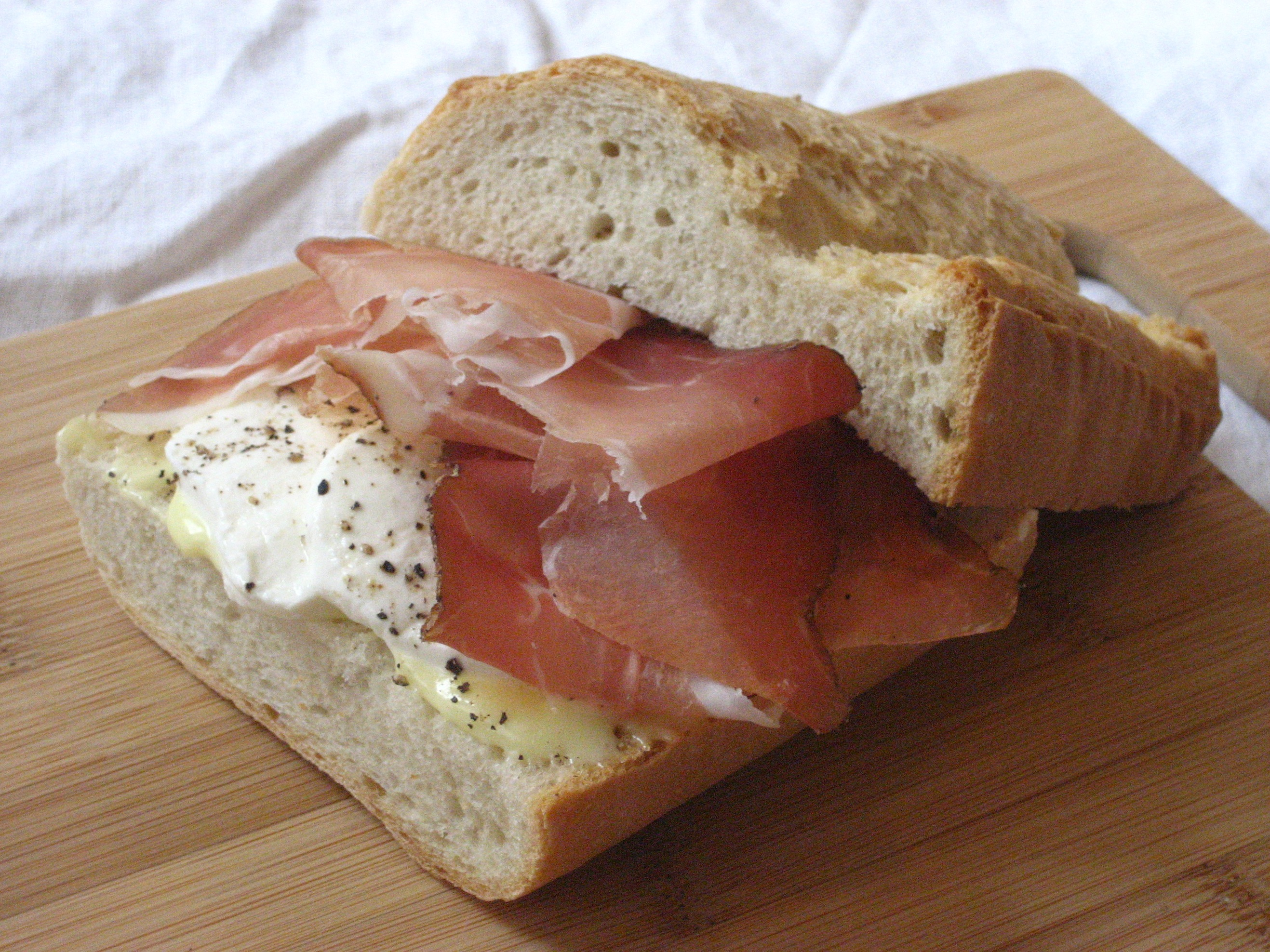 Speck and Mozzarella Baguette with Homemade Mayonnaise