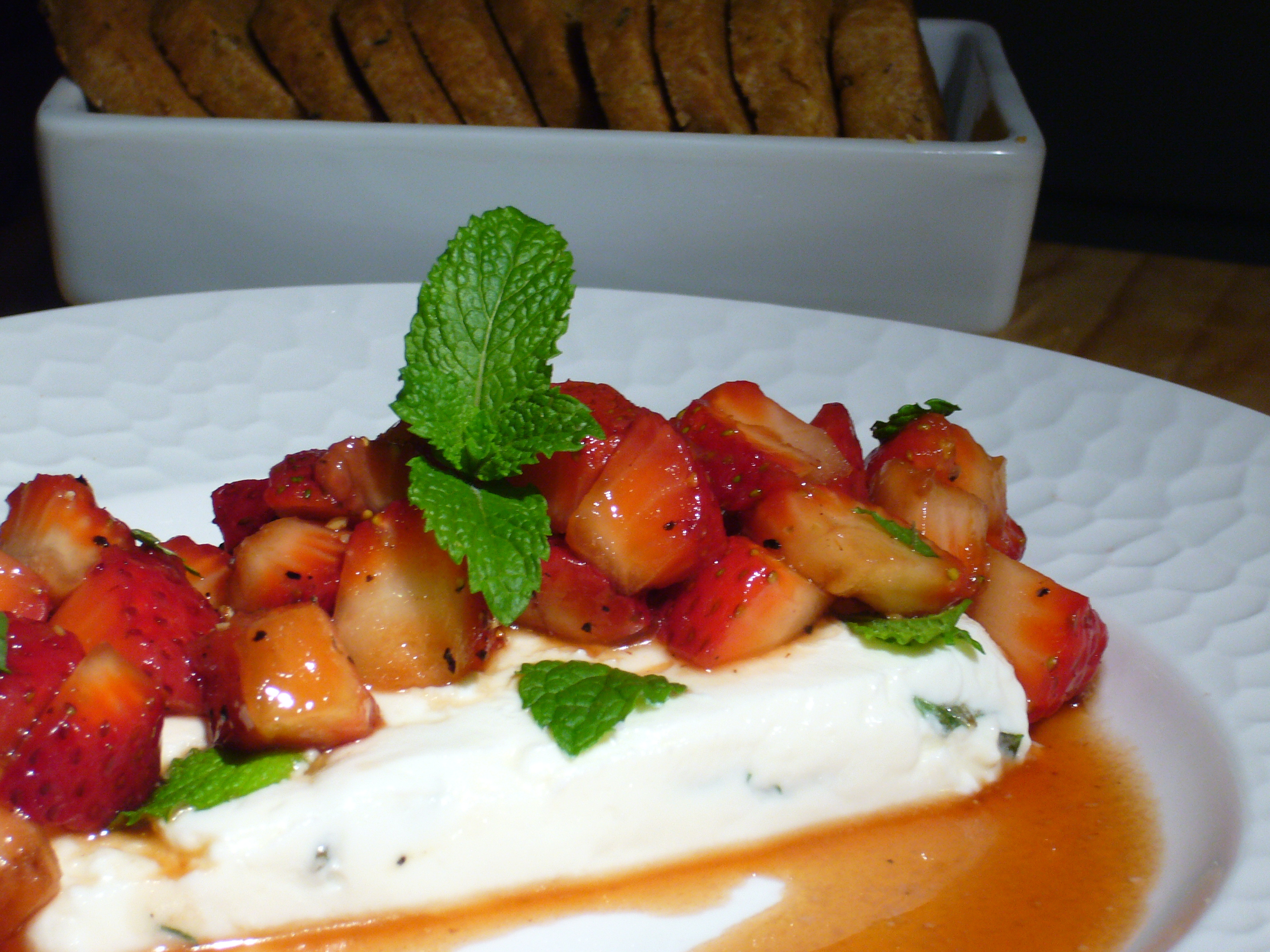 Ricotta, Chevre and Mint Layers with Balsamic Strawberries
