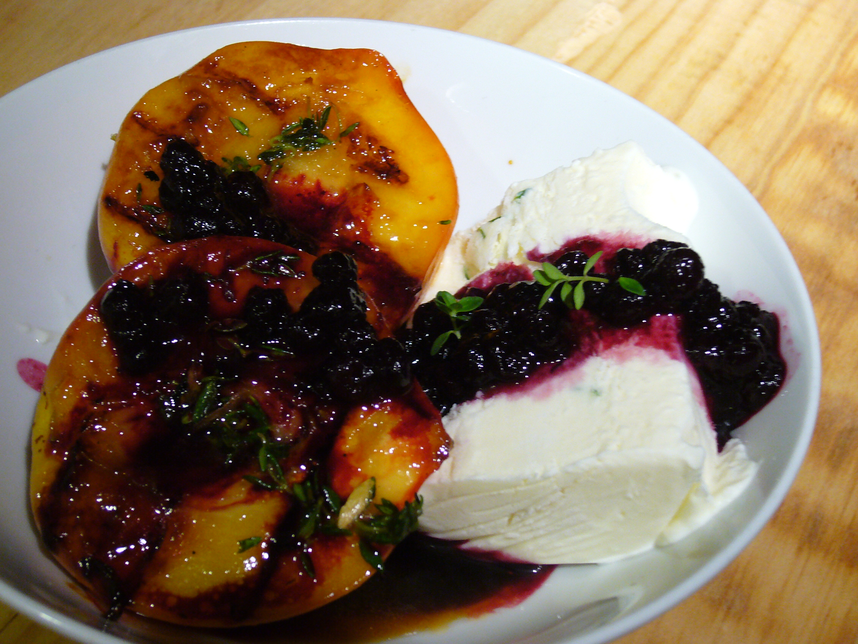 Peaches-n-Herb (Grilled Peaches, Lemon-Thyme Semifreddo, Blueberry ...