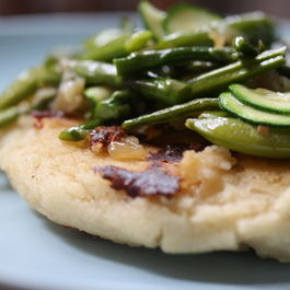 Oversized Mozzarella Arepas with Spring Vegetables