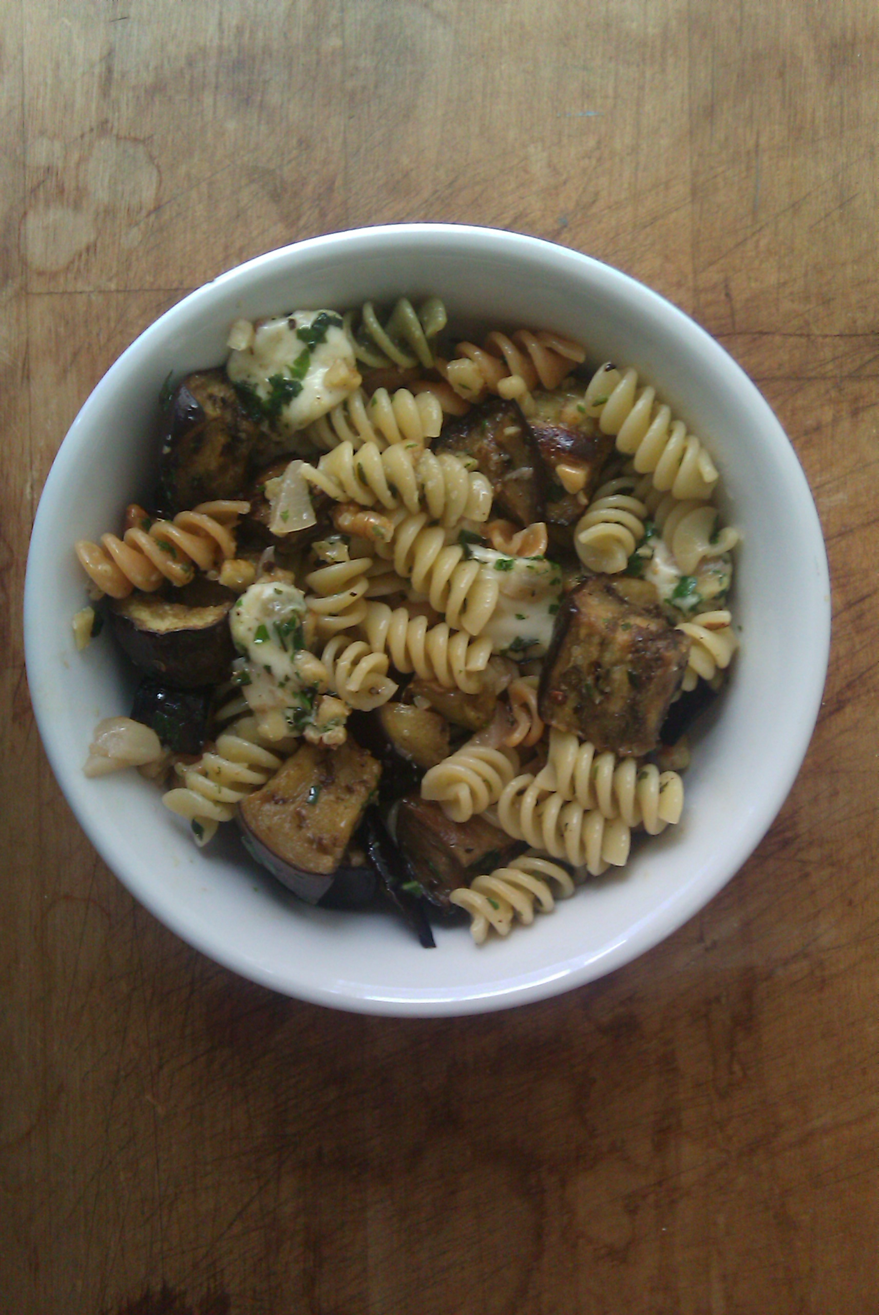 Pasta with Egglplant, Walnut Pesto, and Ciliegine