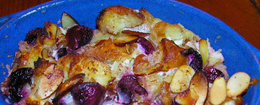 Cherry almond bread pudding