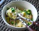 Zucchini and Green Coriander Pasta