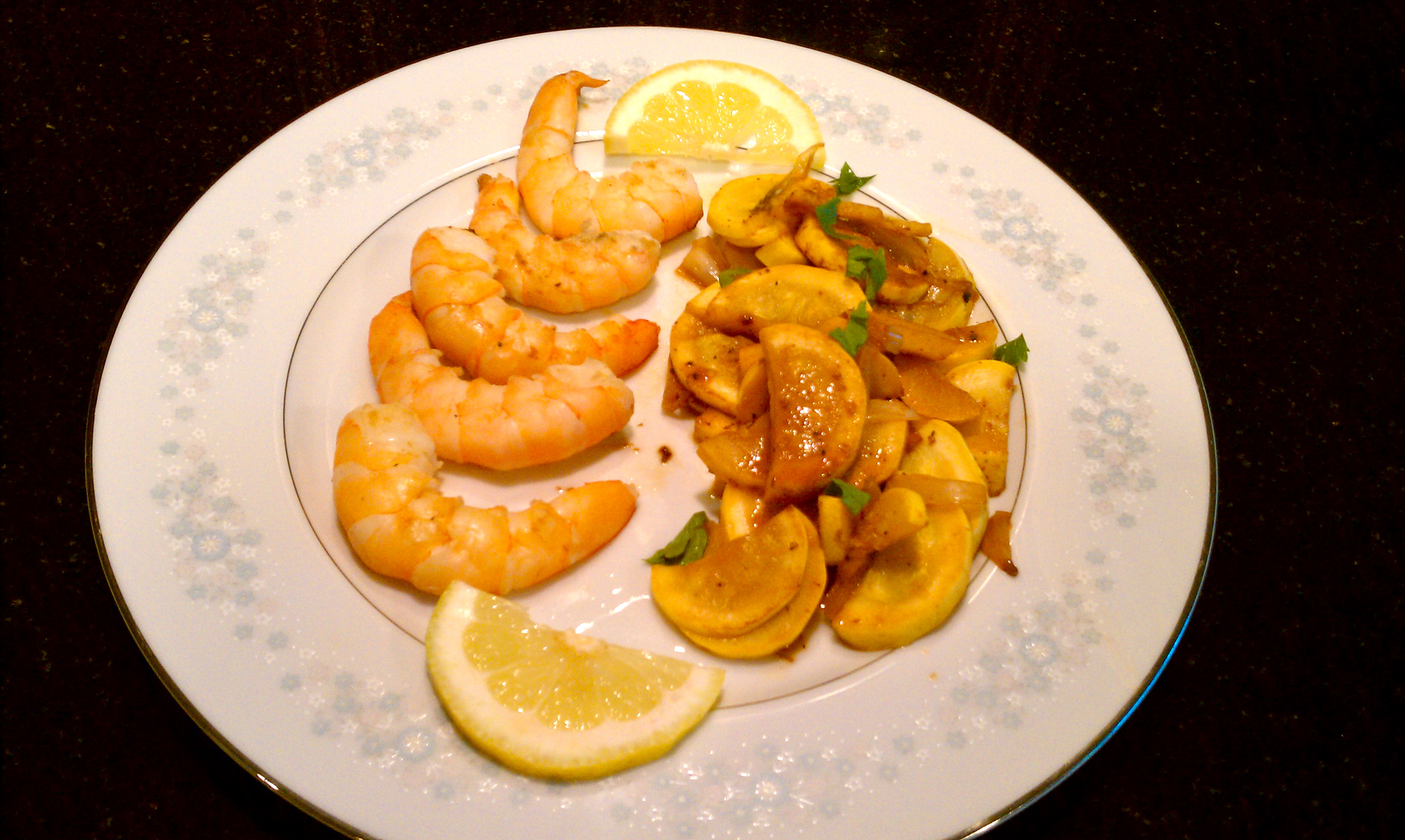 Lemon Yellow Squash with Shrimp