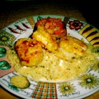 Pan-Seared Scallops and Yellow Squash with Lemon Cream Couscous
