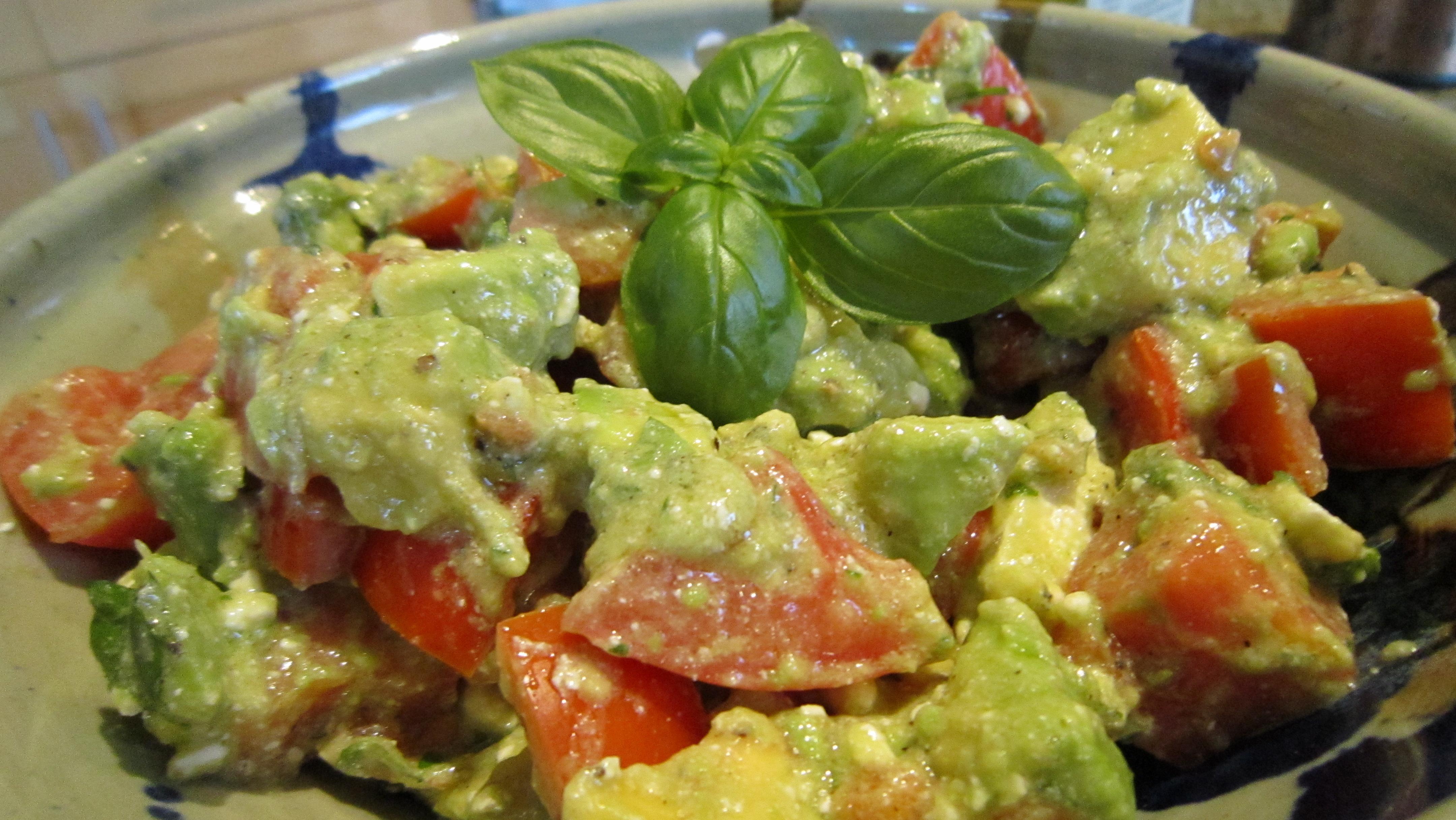 Creamy Avocado, Basil, Feta & Tomato Salad....