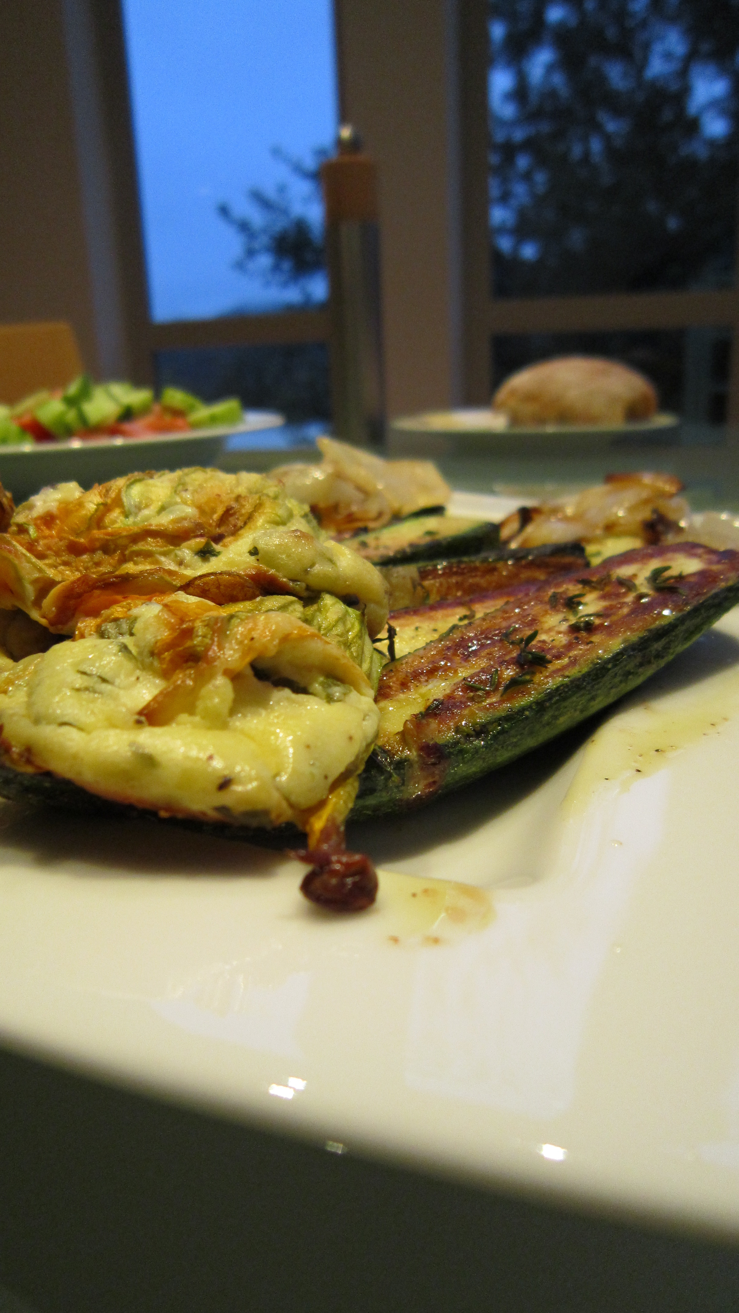 Zucchini Flowers Stuffed with Goat Cheese and Basil