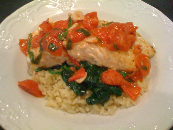 Halibut w/ Basil, Garlic, and Tomato