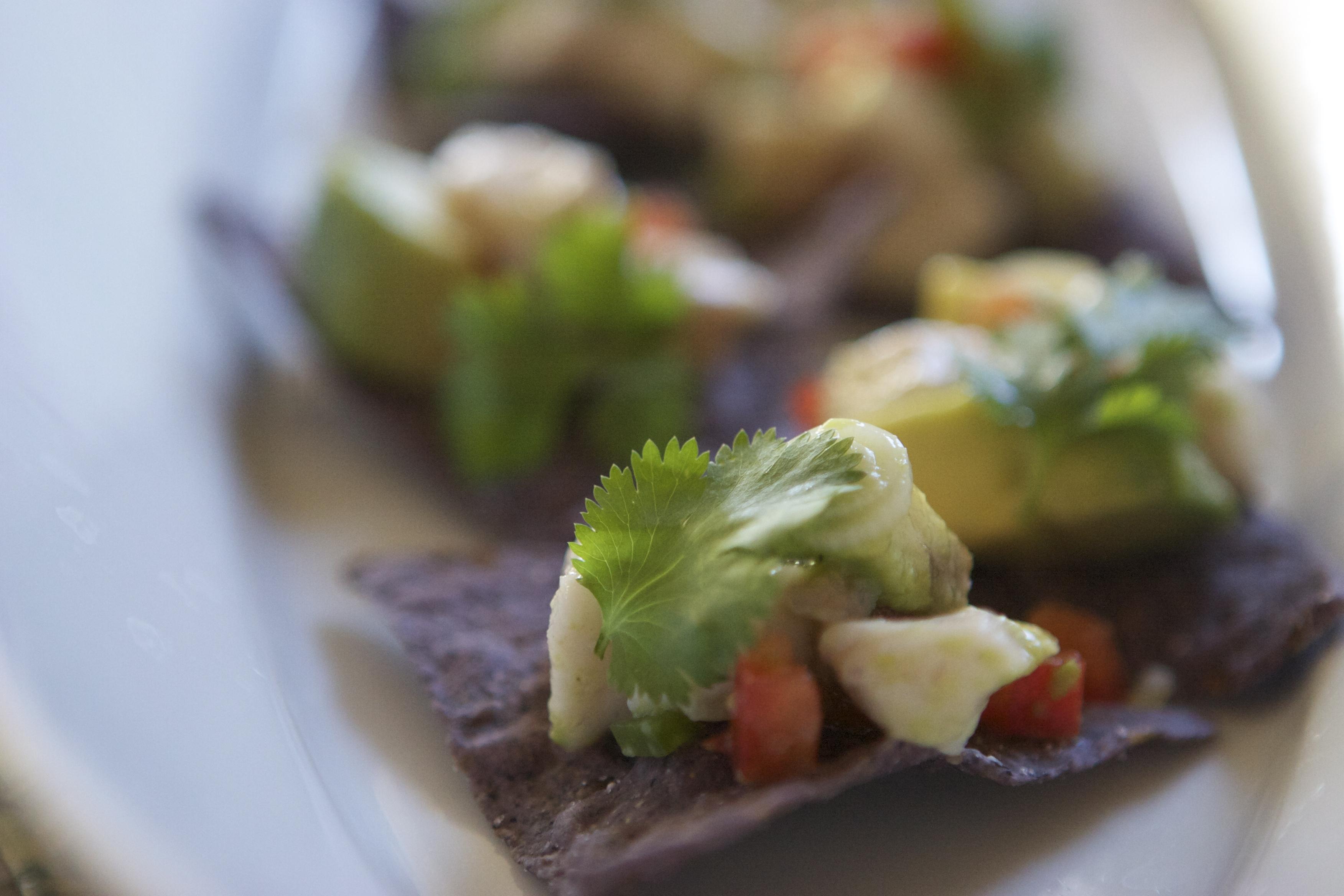 No-Cook Swordfish Tostado Bites