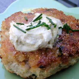 San Francisco Swordfish Cakes with Spicy Brown Mustard Mascarpone