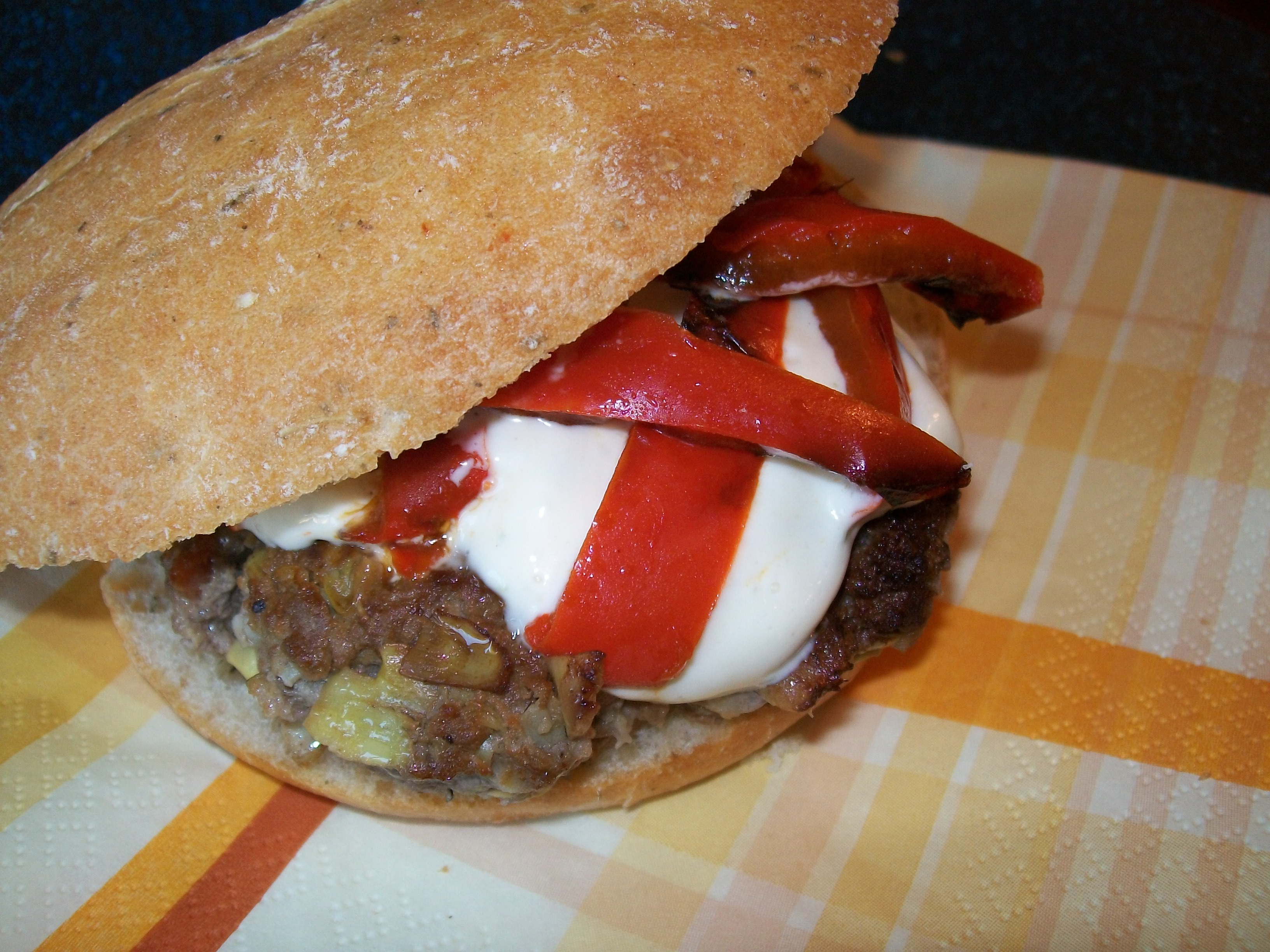 Artichoke & Parmesan Burgers with Lime Mayonnaise & Roasted Red Peppers