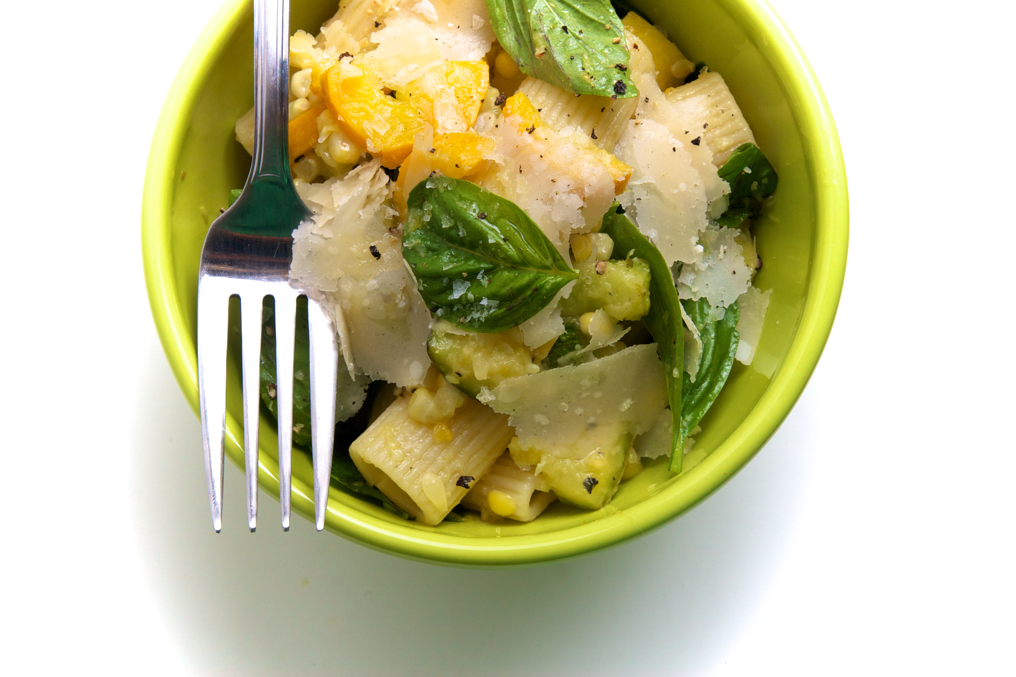 Rigatoni with Summer Squash, Sweet Corn & Basil